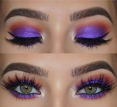 Purple and Orange Eye Makeup Look for Green Eyes