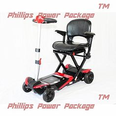 Enhance Mobility  The Transformer  Electric Folding Scooter  4Wheel  Red  PHILLIPS POWER PACKAGE TM  TO 500 VALUE * This is an Amazon Associate's Pin. Find out more on Amazon website by clicking the image.