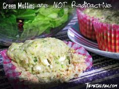 Green Muffins are not Radioactive! They're made with zucchini and feta for deliciousness :3