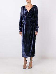 Attico v-neck draped midi dress