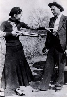 Bonnie Parker & Clyde Barrow on Sowers Road in Irving, Texas taken by W.D. Jones with the camera they borrowed from my cousin Blanche who was married to Clyde's brother Buck.