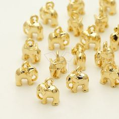 PD-1311-GD / 4 Pcs - Tiny Mini Elephant Charm Baby Elephant Pendant, Gold Plated over Brass / 6.2mm x 7.5mm by beadsmaker on Etsy