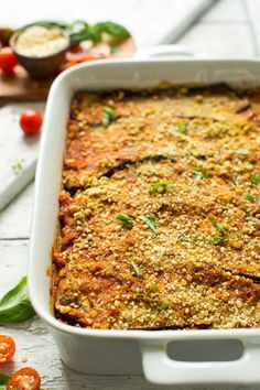 Satisfying, healthy eggplant lasagna with lentil marinara. Made with just 10 ingredients, this is the perfect plant-based, gluten free entrée!