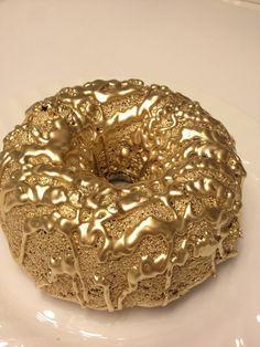 KFC chocolate cake donut sprayed with gold paint