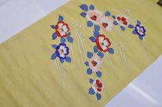 UN-USED SILK NAGOYA OBI BOLT:Embroidered Camellia/Tsunami@p43