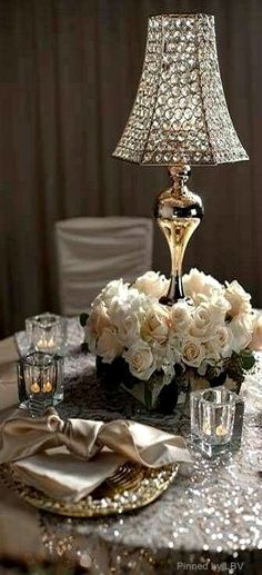 Elegant Dining - Candles, Crystal, Roses & Gold Satin make for a beautiful setting! Party Decoration, Wedding Decorations, Table Decorations, Beautiful Table Settings, Deco Floral, Floral Design, Elegant Dining, Deco Table, Tablescapes