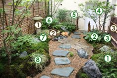 Un décor japonais dans un petit jardin à l'ombre (Scènes de jardins)