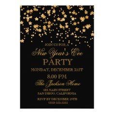 "Glitter Gold Confetti Stars New Years Eve Party 5"" X 7"" Invitation Card"