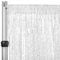 """Glitz Sequin Mesh Net 10ft H x 52"""" W Drape/Backdrop panel - White– CV Linens Sequin Curtains, Sequin Backdrop, Drapes Curtains, Pipe And Drape, Mesh Netting, New Year Celebration, White Paneling, Sweetheart Table, Curtain Rods"""