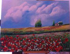 Dipinto olio su tela 50x70 cm  Titolo: Paesaggio di campagna