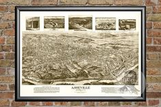 Genealogy Lovers!!! These maps are a perfect addition to your research! I have one from my home town. There's more than one big picture. There are many close-up pictures and information around the edges. Asheville, NC Historical Map - 1912. 4 sizes availa