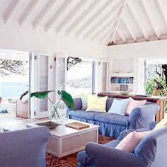 How about a pastel living room? The palette in this coastal seating area echoes the colors of dusk, making for a perfectly peaceful look. Coastalliving.com