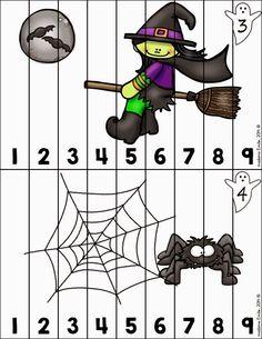 Halloween Theme Preschool, Kindergarten Christmas Crafts, Halloween Puzzles, Art Halloween, Halloween Class Party, Easy Christmas Crafts, Halloween Crafts For Kids, Halloween Spider, Halloween 2020