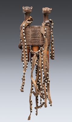 Africa   Container (litete) from the Makonde people of Tanzania   Wood, hide, glass beads