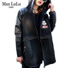 Max LuLu Luxury Brand Koreanska Hooded Vinter Casacos Kvinnor Denim  Skinnjacka Tjocka Warm Ladies Faux Fur Kappa Chaqueta Cuero edd0b4badc91