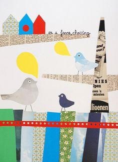 Birds on a fence, chatting (COLLAGE TO DO WITH KIDS)