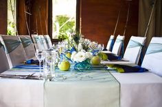 blue and green wedding tablescape