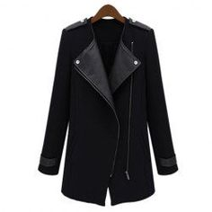 Stylish Lapel Collar PU Leather Splicing Long Sleeves Trench Coat For Women