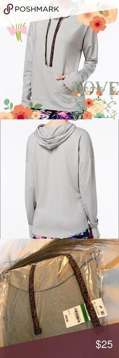 BRAND NEW Material Girl Active Hoodie NEW IN PACKAGE Material Girl Active's cozy hoodie is a cute and sporty look for your casual weekend. Attached hood with drawstring Pullover styling Kangaroo pocket at front Unlined Hits at hip Polyester/spandex Material Girl Sweaters