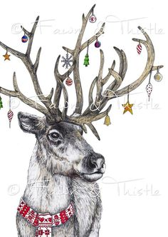 Fineliner: Christmas Critters The Effective Pictures We Offer You About christmas design illustration gift tags A quality picture can tell you many things. Hirsch Illustration, Deer Illustration, Christmas Illustration, Christmas Drawing, Christmas Paintings, Christmas Wall Art, Christmas Animals, Christmas Pictures, Christmas Rock