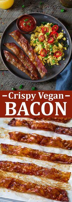 Crispy vegan bacon #bacon #veganbacon #vegan #veganbreakfast #veganrecipe #