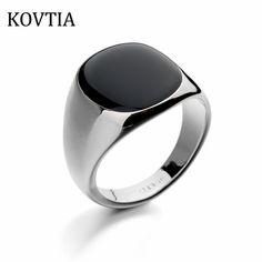 cool KOVTIA Brand Design Fashion Men Platinum Plated Rings Bijoux Man Ring Black Wedding Jewelry Anillos De Hombre Gift 90650 3.23 $