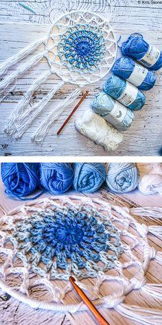 Crochet Dreamcatcher Pattern Free, Free Crochet Doily Patterns, Crochet Doilies, Mandala Crochet, Dishcloth Crochet, Crochet Afghans, Crochet Blankets, Crochet Stitches, Crochet Cross