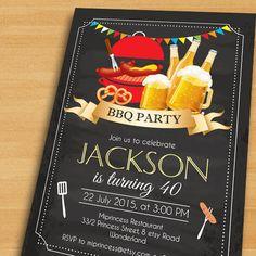 BBQ Birthday Invitation Chalkboard Backyard Beers by miprincess
