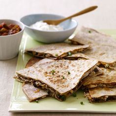 Weight Watchers Chicken and Cheese Quesadillas: A Mexican classic with endless variations: try Monterey Jack cheese and jalapenos, pico de gallo and black beans or shredded jicama and mango salsa. 9 Points+