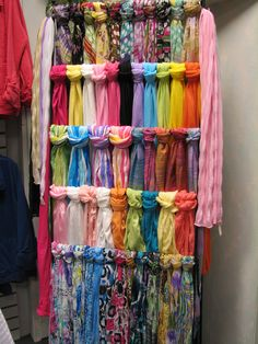 Yay Scarves..I need a scarf rack like this! Is this a pants' hanger or the like? Hmmm...