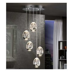 SCHULLER - Lighting Pendants Rocio 785635 LED light pendant, made of metal, chrome finish. Glass shades with drop shape made in solid glass with decorative bubbles inside. Ceiling Lamp, Pendant Ceiling Lamp, Hanging Lights, Lamp Light, Buy Lamps, Led Lights, Light, Pendant Lighting, Led Light Lamp