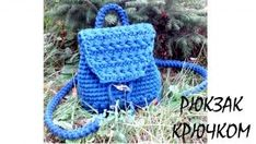 The Backpack of T-Shirt Yarn. Crochet Handbags, Crochet Purses, Crochet Baby, Knit Crochet, Backpack Pattern, Crochet Keychain, Crochet Videos, T Shirt Yarn, Kids Bags