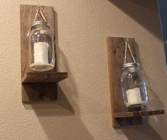 Rustic Mason Jar Candle Holder Wall Scone Rustic by craftgeneral21