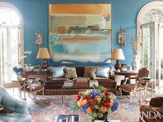 Living room-Atlanta Home by Designer Miles Redd
