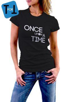 ONCE UPON A TIME T-shirt Noir ou Blanc pour Femme • conte de fées • Tshirt • Pomme • 051 de la boutique teeFORtea sur Etsy