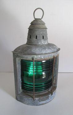 Vtg Wilcox Crittenden & Co Hurricane Tested Marine Lantern w/ green ribbed glass Old Lanterns, Antique Lanterns, Good Things, Antiques, Glass, Green, Home Decor, Antiquities, Antique