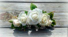 Купить гребень в прическу с розами из полимерной глины - гребень с цветами, гребень в прическу, гребень свадебный