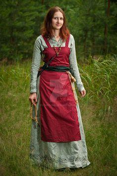 "coat for ""girl Varyag"" (Scandinavian in Russia). Homespun wool, linen homespun bottom layer. Finishing silk piping along the edges of clothing"
