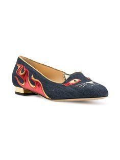 Charlotte Olympia Hot Kitty flats Cat Shoes, S Signature, Charlotte Olympia, Dark Denim, Slippers, Slip On, Kitty, Flats, Stylish