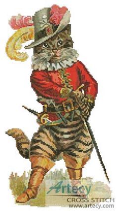 Artecy Cross Stitch. Puss in Boots 2 Counted Cross Stitch Pattern to print online.