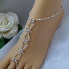 Elegant Barefoot Sandals | Silver Rhinestone Starfish Wedding Barefoot Sandal Bridal Foot Jewelry ...