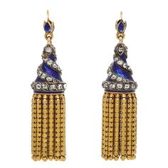 Antique Enamel and Gold Tassel Earrings. Blue engine-turned enamel, ornamented with spiraling diamonds, and a fringe of gold tassels. England, ca. 1870.