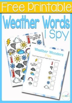This Weather I Spy counting activity is the perfect introduction to the forms of weather for your preschoolers! Practice counting, matching, and visual discrimination while building language skills to familiarize them with words that they will be hearing during the your weather lessons.