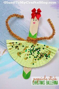 Nutcracker Inspired - Popsicle Stick Christmas Ballerinas - Kid Craft Idea - Winter Fun - Disney's Nutcracker Movie Inspired