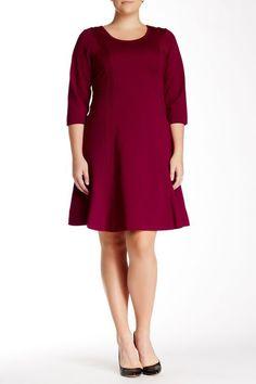NWT 24W MYNT 1792 Plus Size Amelia Fit & Flare Dress in Raspberry #Mynt1792