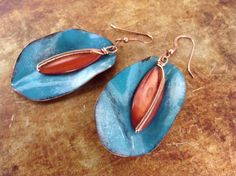 Enamel on Copper with Wire Wrapped Color Shell Earrings