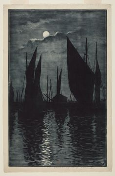 Effet de Lune, Honfleur, before 1887 Henri Charles Guérard, French, 1846 - 1897 Etching and aquatint on wove paper