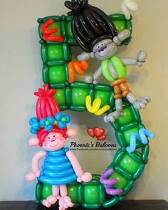 Trolls Birthday Party, Troll Party, Ballon Decorations, Birthday Party Decorations, Balloon Toys, Balloon Party, Columns Decor, Princess Poppy, Balloon Modelling