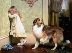 """About the Artwork Distressed by his playmate's tears, a collie appears to beg the parental court for a reprieve in """"Special Pleader"""" by Charles Burton Barber – A popular Victorian genre painter Victorian Paintings, Victorian Art, Vintage Paintings, Victorian Women, Rough Collie, Collie Dog, Border Collie, Munier, Dog Paintings"""
