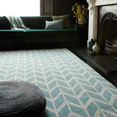 Arlo Chevron Rugs Blue with FREE DELIVERY. Arlo Chevron Blue Rugs come with a contemporary design and made with luxuriously soft micro-fibre yarns in eye-catching geometric patterns Grey Chevron Rugs, Teal Rug, Geometric Rug, Blue Chevron, Geometric Patterns, Design Bleu, Tapis Design, Duck Egg Blue, Buy Rugs